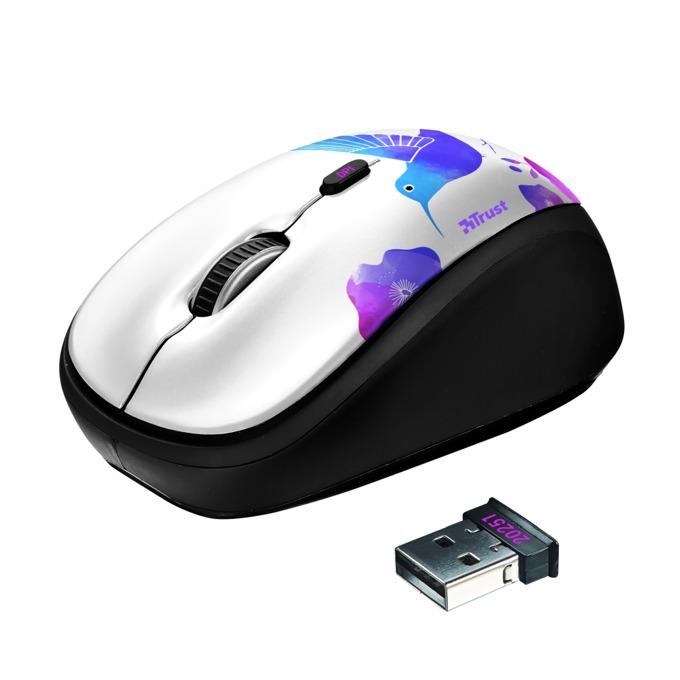 Мишка Trust Yvi, оптична (1600dpi), безжична, USB, бяла  image