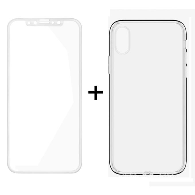 Протектор от закалено стъкло /Tempered Glass/ в комплект с калъф Remax Crystal, за Apple iPhone X, смартфон, бял image