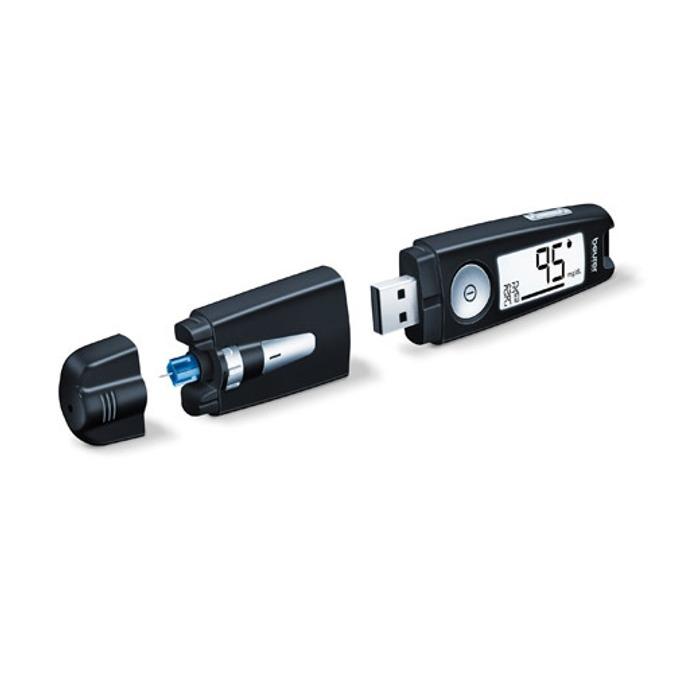 Апарат за измерване на кръвна захар Beurer GL50, 5 игли, 5 тест ленти, USB, черен image