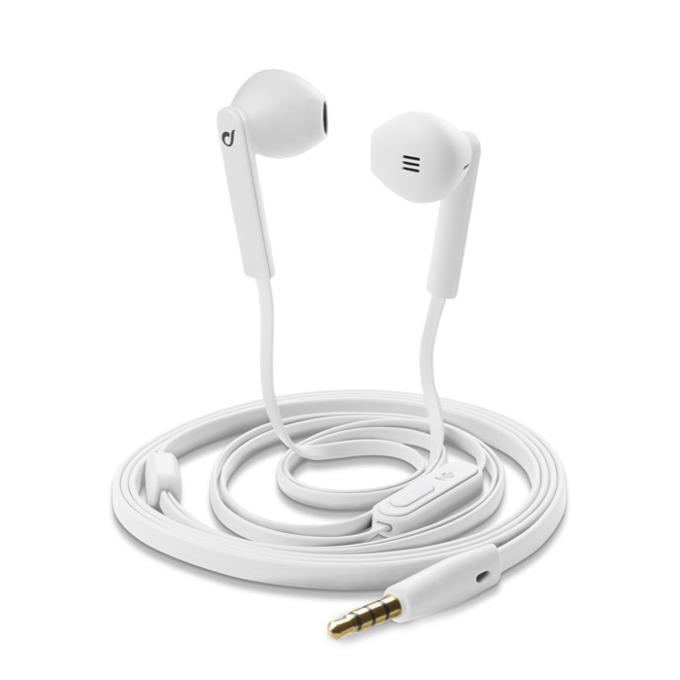 Слушалки Cellular Line АР MANTIS, микрофон, плосък кабел, 3,5 мм жак, бели image