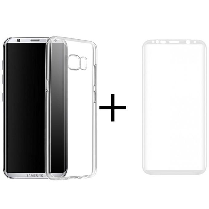 Комплект стъклен протектор + калъф Remax Crystal, за Samsung Galaxy S8, бял image