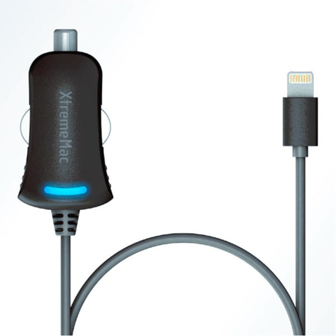 Зарядно у-во за кола XtremeMac, 10V, 2.4A, Lightning, за мобилни устройства, черно image