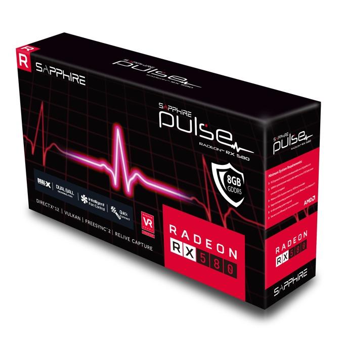Видео карта AMD Radeon RX 580, 8GB, Sapphire PULSE OC Lite, PCI-E 3.0, GDDR5, 256bit, DisplayPort, HDMI image