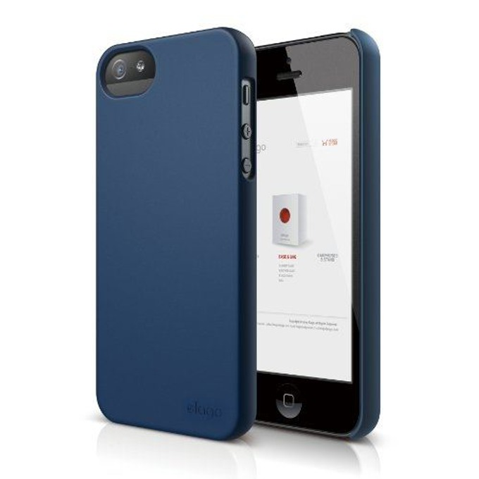 Поликарбонатов протектор Elago S5 Slim Fit 2 Case + HD Clear Film за iPhone 5, iPhone 5S, тъмносин-мат, HD покритие image