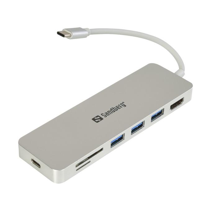 KVM Switch SANDBERG 136-11, от USB 3.1 Type C(м) към 1x HDMI(ж), 1x USB TypeC(ж), 3x USB A 3.0(ж), SD/TF Card reader, micro SD Card reader image