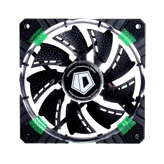Вентилатор 120мм ID-Cooling CF-12025-G 120mm LED, 4-pin, 1600rpm, зелена LED подсветка image
