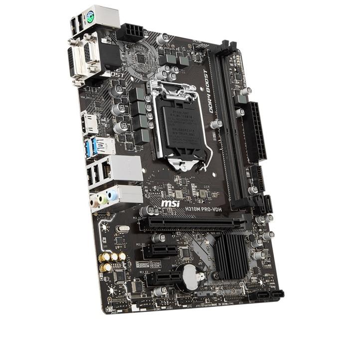 Дънна платка MSI H310M PRO-VDH, H310, LGA1151, DDR4, PCI-E(HDMI/DVI/VGA), 4x SATA3, 2 x USB 3.1 Gen 1, Micro-ATX image