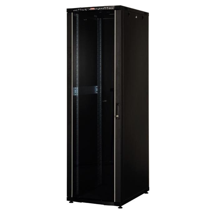 """Комуникационен шкаф Lande LN-CK36U6080-BL, 19"""", 36U, 600 x 800 мм, стъклена врата, LCD термометър, черен image"""