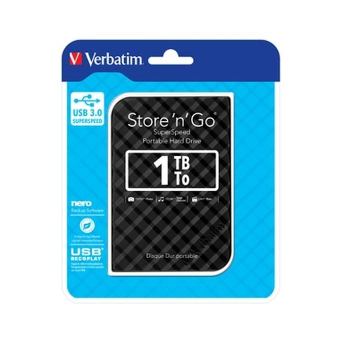 """Твърд диск 1TB Verbatim Store n Go (черен), външен, 2.5"""" (6.35 cm), USB 3.0 image"""