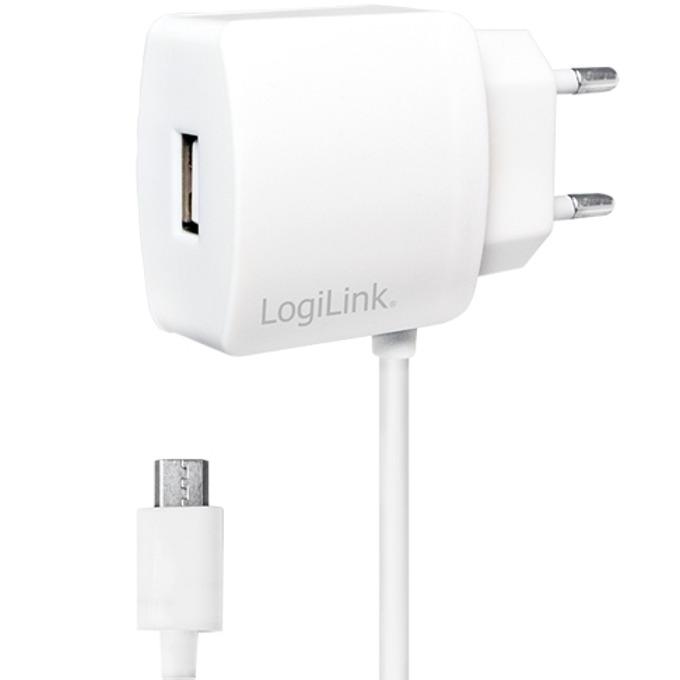 Зарядно устройство LogiLink PA0146W, от контакт към USB А (ж) + Micro USB кабел 1m, 5V, 2.1A, image