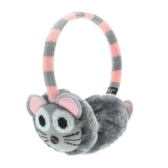 Слушалки KitSound Mouse Knit Earmuffs, сиви, с ушанки image