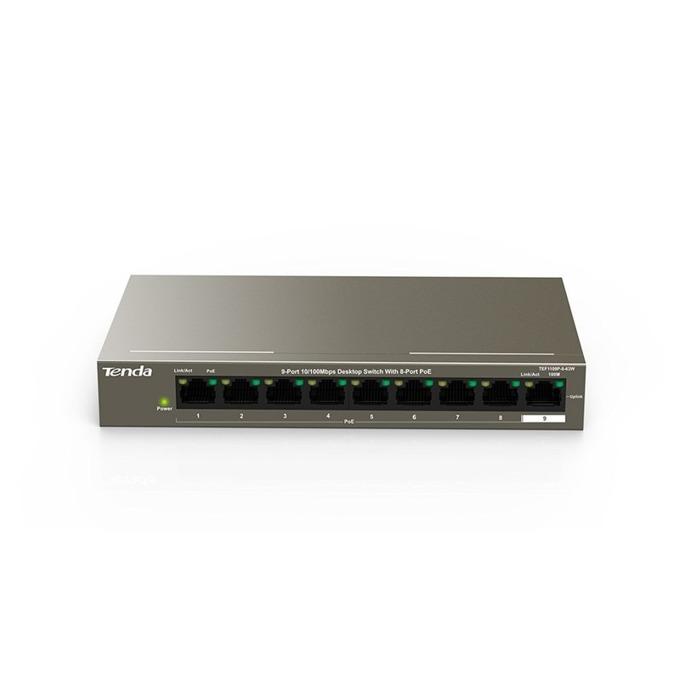Суич TENDA TEF1109P-8-63W, 100Mbps, 9x LAN10/100Mbps, 8 Poe портове image