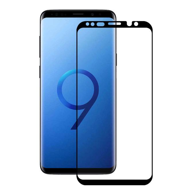 Протектор от закалено стъкло /Tempered Glass Samsung Galaxy S9, Eiger 3D Glass Case Friendly Curved Tempered Glass, калено стъклено защитно покритие с извити ръбове за целия дисплея черен-прозрачен image