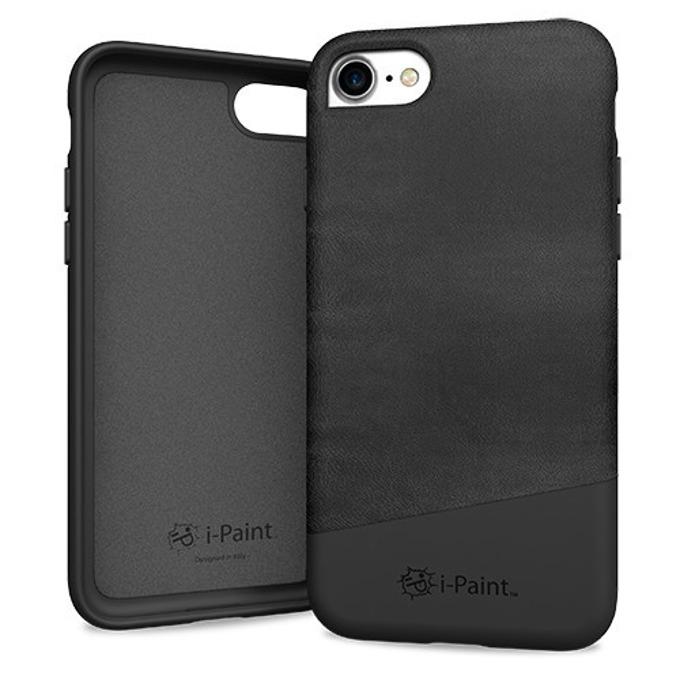 Калъф за Apple iPhone 8, еко кожа, iPaint Black Leather 171001, черен image