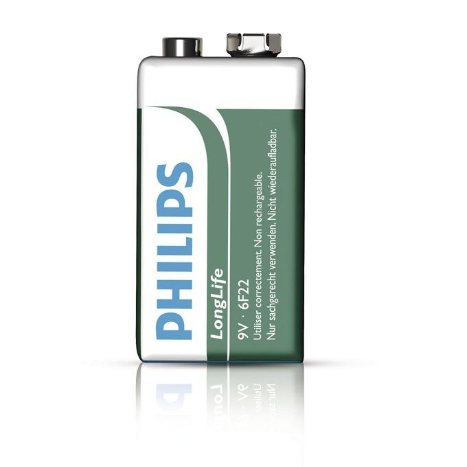 Батерия цинкова Philips Long Life 6F22, 9V, Фолио, 1 бр. image