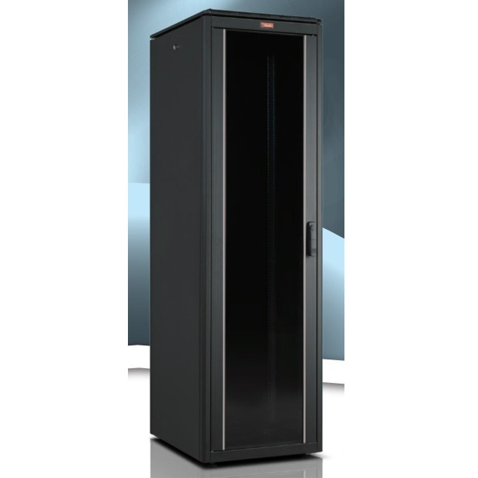 """Комуникационен шкаф Lande LN-FS42U6060-BL-111, 19"""", 42U, 600 x 600 мм, стъклена врата, черен image"""
