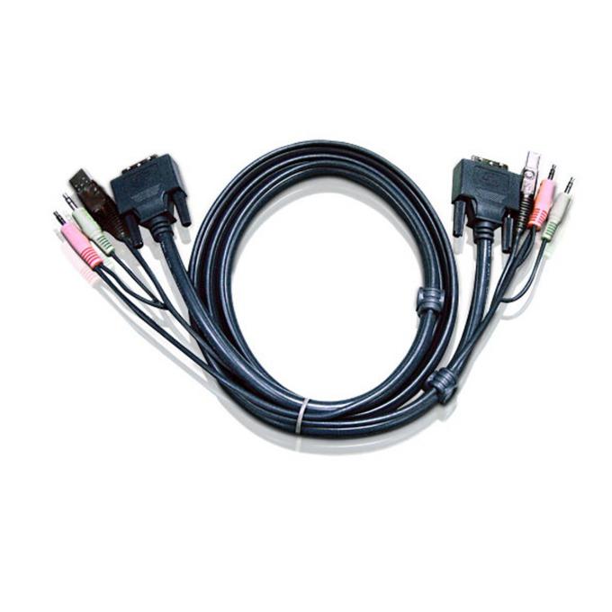 KVM кабел ATEN 2L-7D03U, DVI-D(м) + USB A(м)+ 2x RCA към DVI-D(м) + USB B(м)+ 2x RCA, 3.0 м image