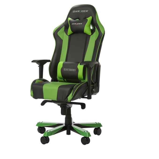 Геймърски стол DXRacer King, черен/зелен image