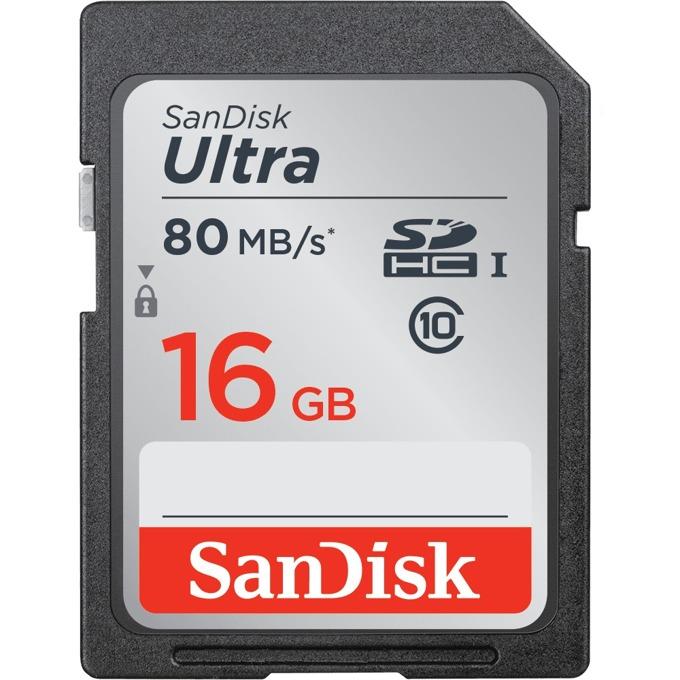 Карта памет 16GB SDHC, SANDISK Ultra, Class 10, скорост на четене до 80 Mb/s, скорост на запис 10MB/s image