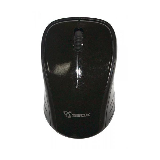 Мишка SBOX WM-9001B, оптична (1600 dpi), безжична, USB, чернa, 10м обхват image