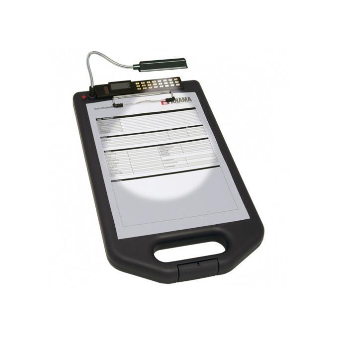 Клипборд Wedo, за документи с формат до А4, с калкулатор и лампа, с капак, черен image