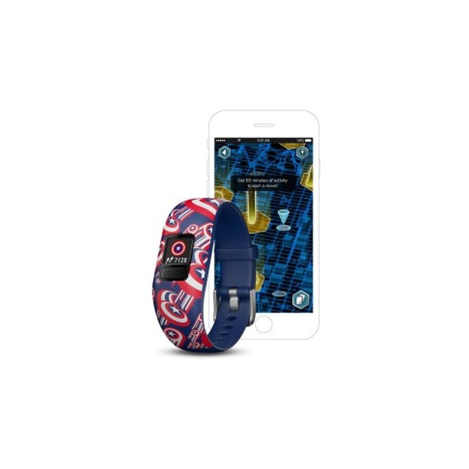 Смарт гривна Garmin vívofit® jr. 2, активити тракер за деца, 88x88 pix. дисплей, Bluetooth, водоустойчива, син(Captain America) image