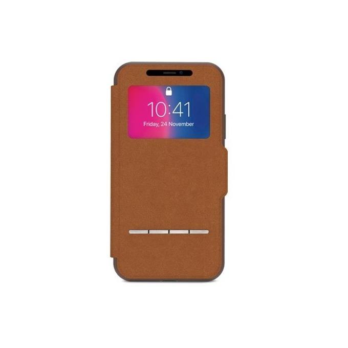 Калъф Apple iPhone X, отваряем с прозорче, термополиуретан, Moshi SenseCover 99MO072731, кафяв image