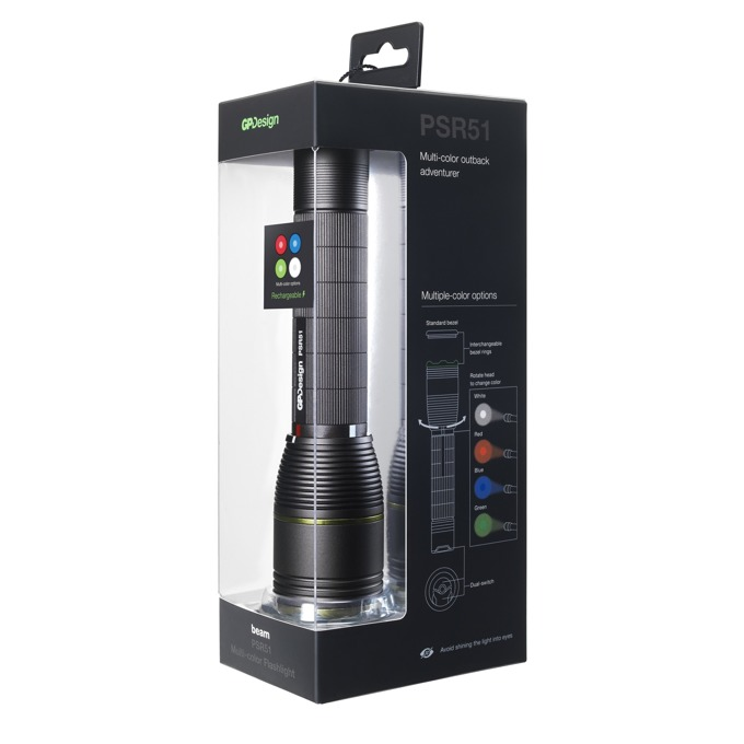 Фенер GP Design PSR51, Li-ion 18650/CR123A/USB, 470 lumens, водоустойчив, ръчен, , черен image