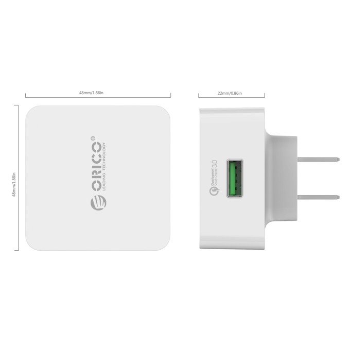 Зарядно устройство ORICO QC3.0, от контакт към USB, 12V, 3A, бяло image