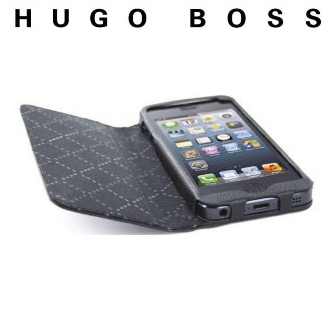 Калъф за iPhone 5/5S, Flip Cover, кожен, HUGO BOSS Folianti Booklet Case, луксозен, черен  image