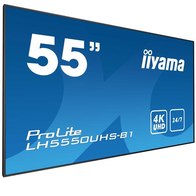"Публичен дисплей Iiyama LH5550UHS-B1, 55""(139.7 cm) 4K UHD AMVA3 LED, HDMI, DisplayPort, RS232, LAN, USB image"