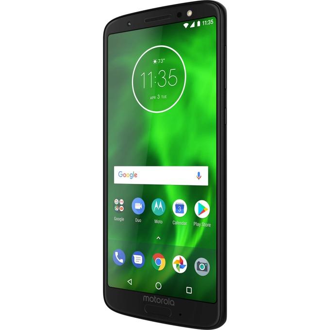 """Motorola Moto G6 (черен), поддържа 2 sim карти, 5.7"""" (14.48 cm) Full HD+ IPS дисплей, осемядрен Qualcomm Snapdragon™ 450 1,8 GHz,3GB RAM, 32GB Flash памет (+ microSD слот), двойна основна камера 12.0 + 5.0 MPix и 8 MPix задна, Android, 167g image"""