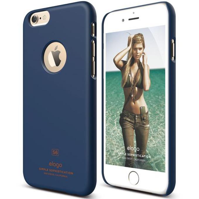 Поликарбонатов протектор Elago S6 Slim Fit за iPhone 6, тъмносин, HD покритие  image