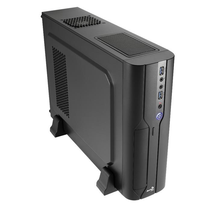 Кутия AeroCool CS-101 , Micro-ATX, 2x USB 3.0, 1x 80mm вентилатор, Slim tower, черна, без захранване image