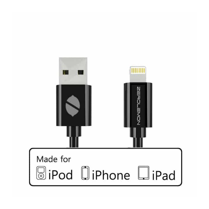 Кабел ZeroLemon USB A(м) към USB Lightning, 2m, черен image