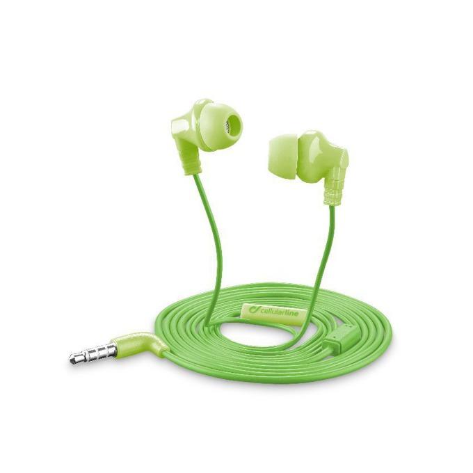 Слушалки Cellular Line Cricket, микрофон, универсални, 3.5mm жак, с бутон за отговор, зелен image