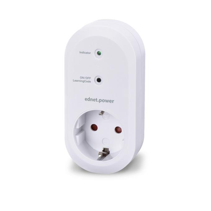 Смарт контакт Ednet 84291, 1x шуко, RF433, Amazon Alexa & Google Assistant, бял image