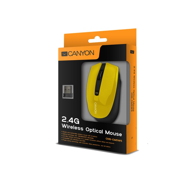 Мишка Canyon CNS-CMSW5Y, безжична, оптична (800dpi-1280dpi), жълта, USB  image
