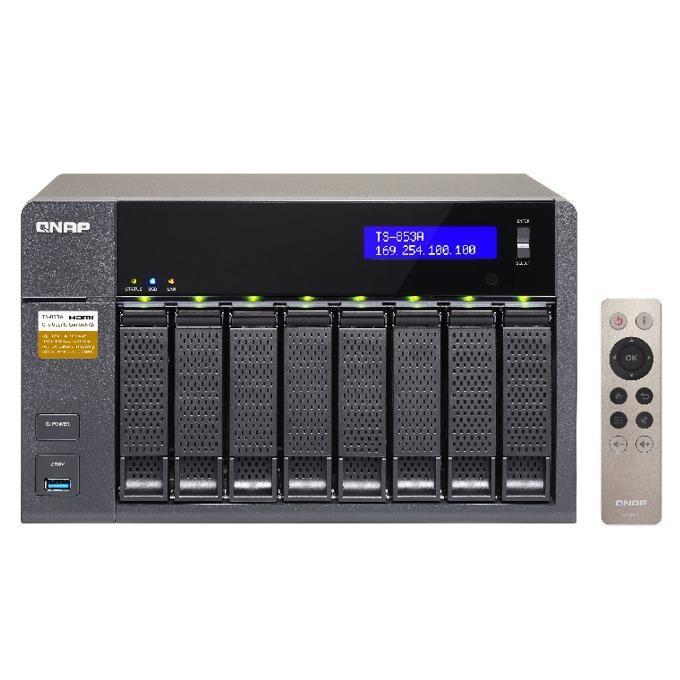 """Qnap TS-853A-4G, четириядрен Intel Celeron 1.6 GHz, без твърд диск (8x 3.5"""" or 2.5"""" SATA 6Gb/s, SATA 3Gb/s hard drive or SSD), 4GB (2x2GB), 4x Lan1000, 2x HDMI, 4x USB 3.0 image"""