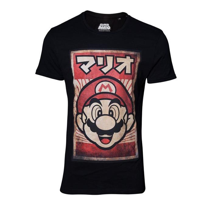Тениска Bioworld Nintendo Propaganda Poster Mario, размер M, черна image