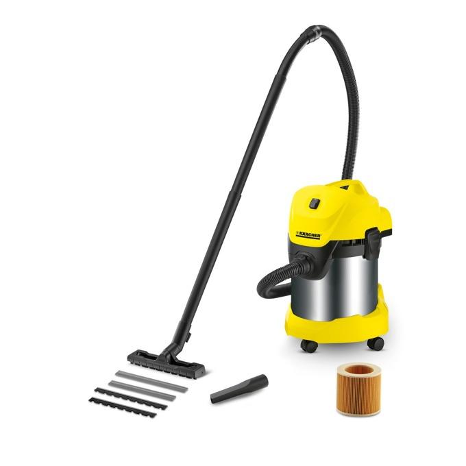 Прахосмукачка Karcher WD 3 Premium, без торба, 1400 W, 17 л. капацитет на контейнера, Pull & Push система, жълта image