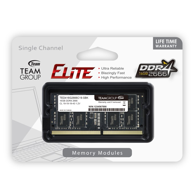 Памет 16GB DDR4 2666MHz, SO-DIMM, Team Group Elite TED416G2666C19-S01, 1.2V image