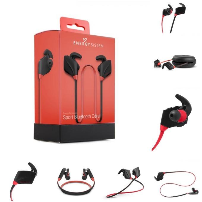 Слушалки Energy Earphones Sport, безжични, микрофон, Bluetooth, корал image