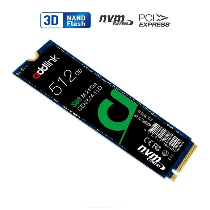 Памет SSD 512GB, Addlink S68, NVMe, M.2 (2280), скорост на четене 1700 MB/s, скорост на запис 1500 MB/s image