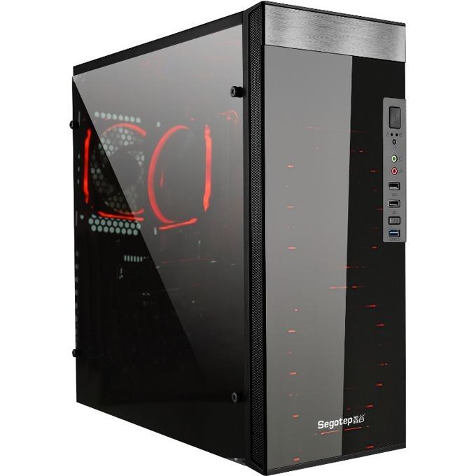 Кутия SEGOTEP SG-K6, ATX/Mini ITX/Micro-ATX, USB 3.0, 2x USB 2.0, прозорец, черна, без захранване image