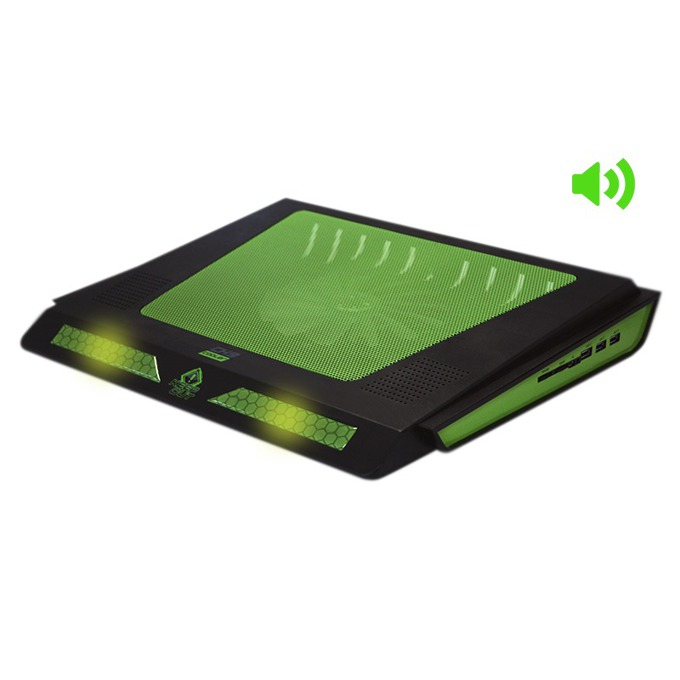 """Охлаждаща поставка за лаптоп CK9, универсална, за лаптопи до 17"""", 3х USB, Колони: 2х 2.5"""" 4Ω / 6W RMS image"""