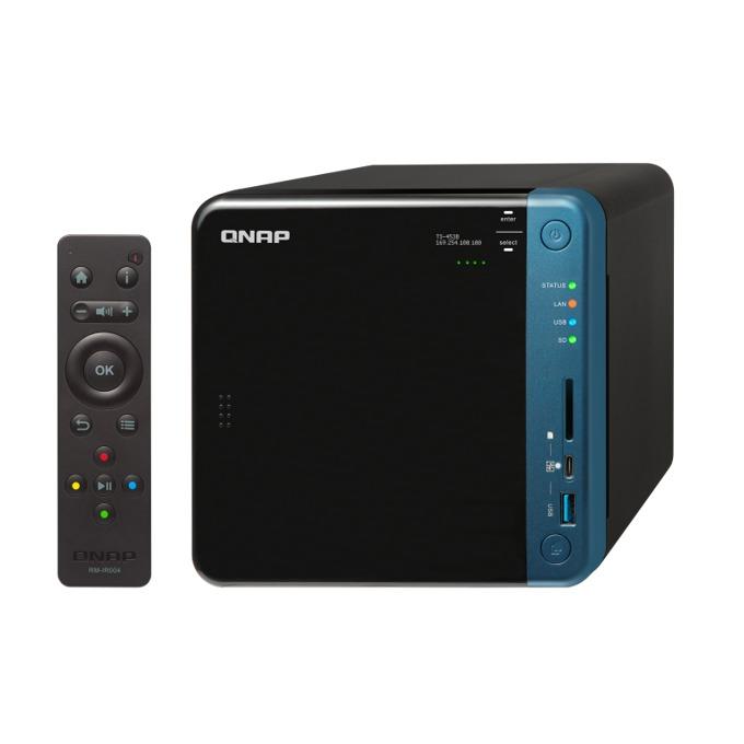 """Qnap TS-453B-4G, четириядрен Intel Celeron J3455 1.5/2.3 GHz, 4x 3.5""""/2.5"""" SATA 6Gb/s HDD/SSD, 4GB DDR3L RAM, 2x 1000 LAN, 2 x HDMI, 2 x 3.5mm jack's, SDXC Card Reader, 0.96"""" (2.43 cm) OLED дисплей, дистанционно image"""