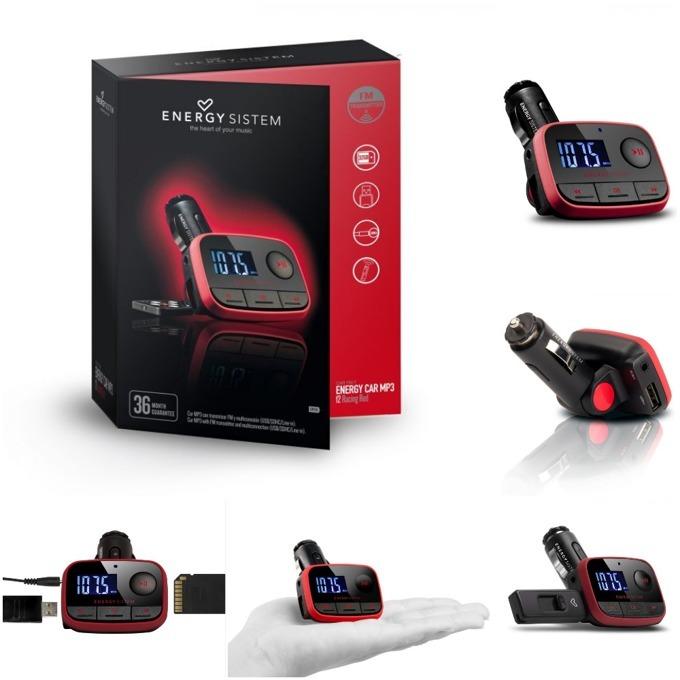 Bluetooth ресивър (приемник) FM трансмитер, Energy Sistem, f2 Racing, поддържа microSD, 3.5 mm jack, червен image