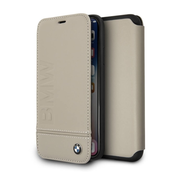 Калъф Apple iPhone X, отваряем, висококачествена еко кожа и поликарбонат, BMW Leather Booktype Case, черен image
