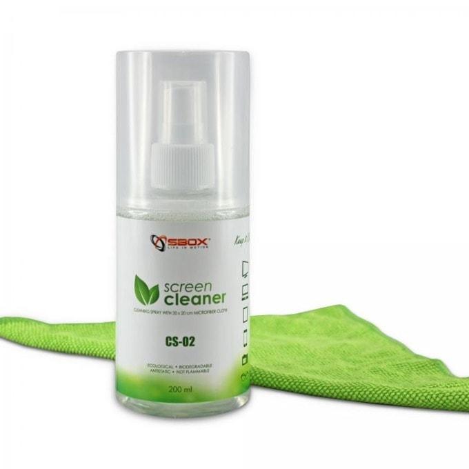 Спрей за почистване SBOX CS-02, за дисплеи, антистатичен, 200 мл, с микрофибърна кърпа image